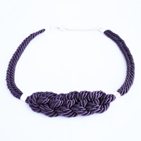 Shiny dark purple knotted nautical rope adjustable statement necklace