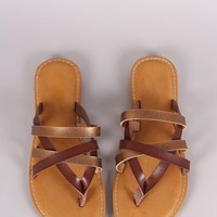Bamboo Strappy Two Tone Thong Flat Sandal