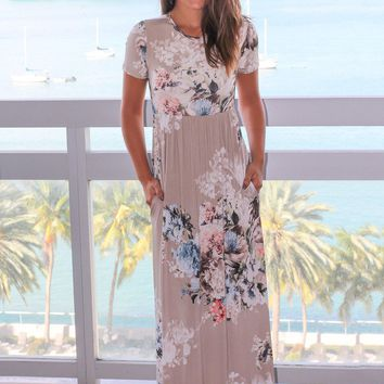 Stone Floral Maxi Dress