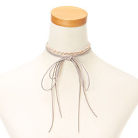 Pink and Gray Braided Yarn and Faux Suede Choker Headwrap