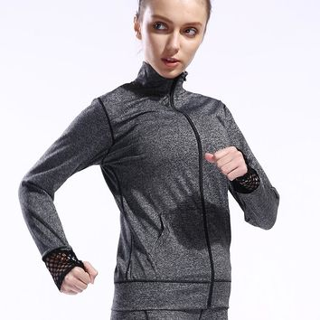 BESGO Women Zipper Long Sleeve Mesh Patchwork Yoga Training Jackets Breathable Outdoor Running Workout Fitness Sports Jackets