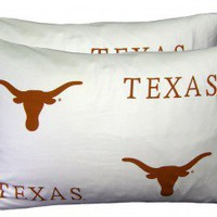 College Covers Texas Longhorns Pillow Case Set in White - TEXPCSTPRW