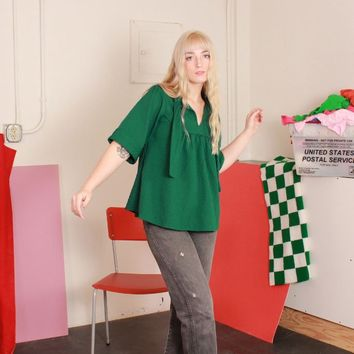 Textured Green Babydoll Blouse / S