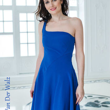One shoulder dress, Blue Blue, Sexy Midi dress, Evening gowns, Evening Dress, High Quality Designer summer dress, Party dress. Prom dresses.