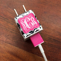 iphone or ipod Vine Monogram Charger and USB Wrap - Damask - Customizable