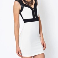 zip-up-body-con-dress IVORYBLACK - GoJane.com