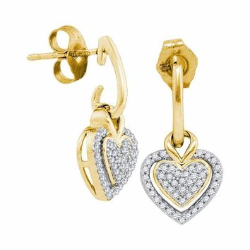 10kt Yellow Gold Women's Round Diamond Dangle Earrings 1-5 Cttw - FREE Shipping (USA/CAN)