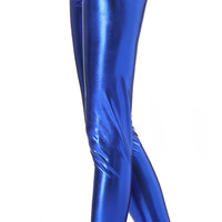 Electric Blue Faux Leather High Waist Leggings Design 70