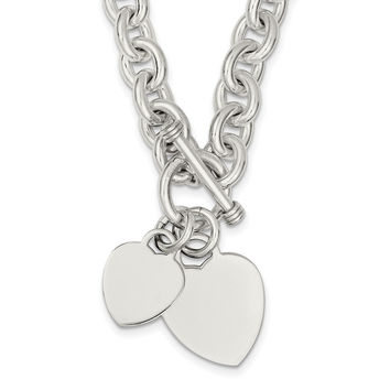 Sterling Silver Engraveable Heart Disc on Fancy Link Toggle Necklace QG1148