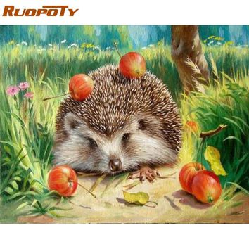 RUOPOTY Frame Hedgehog DIY Painting By Numbers Wall Art Picture Canvas Painting Home Decor Acrylic Paint Unique For Living Room