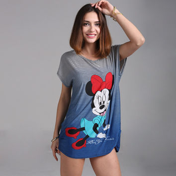 2016 Plus size Minnies T Shirt Dress Big Size Women Mouses Printing T shirt Long Style Loose Casual Tees Sweet Minnie Tops