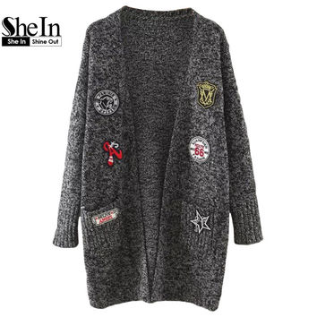SheIn Sweater Coat Women Korean Womens Sweaters Fashion Autumn 2016 Marled Knit Patch With Pockets Long Cardigan