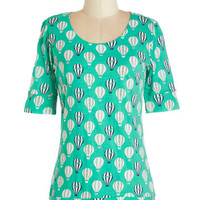 Short Sleeves Up In the Flair Top in Jade