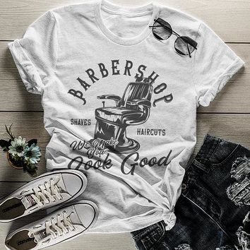 Women's Barbershop T Shirt Barber Shirts Make You Look Good Vintage Graphic Tee
