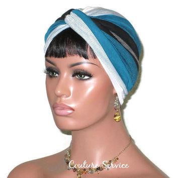 Handmade Striped Rayon Green Twist Turban, White and Black