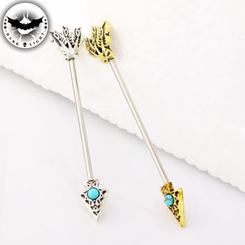 1Piece  Surgical Steel Arrow Industrial Earring Barbell Body Blue Stone Industrial Piercing Ear Cartilage Ear Stud 1.6*38
