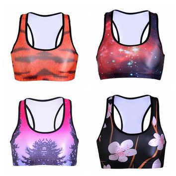 Skyscape Galaxy Yoga Bras Full Cup Y-Strap Sports Vest Professional Elastic Tank Tops Shock Absorber 3D Print Sleeveless Garment LNSsb