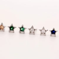925 sterling silver multi color star shape earrings, a perfect gift