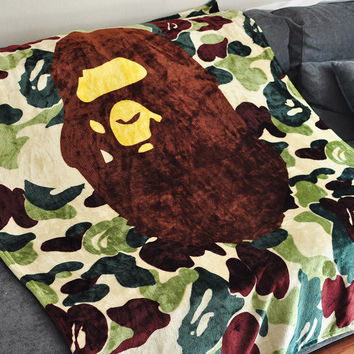 Camouflage Bape blanket bedding sheet
