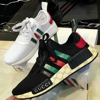 ADIDAS x GUCCI NMD Women Men Trending Fashion Casual Breathable Running Sneakers Sport Shoes Black G