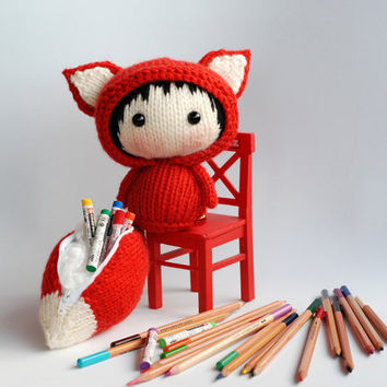 Big Tanoshi Fox Doll with removable tail. Tail - pencil box, cosmetic bag.  - pdf knitting pattern. Knitted round