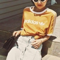 adidas Originals Yellow Three Stripe T-Shirt-1