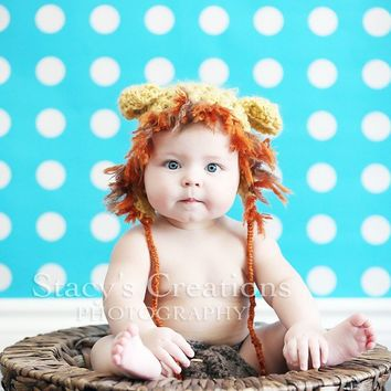Lion Hat Baby Hat Animal Hat Cat Hat Crochet Baby by Monarchdancer