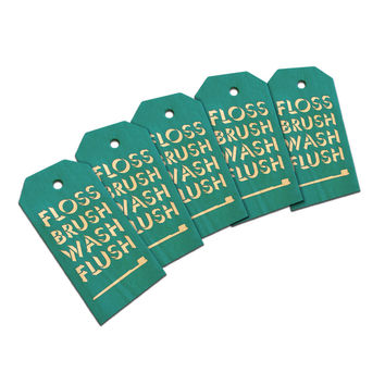 Floss Brush Wash Flush Wood Gift Tag Set