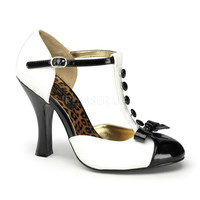 White Patent Leather Button Up T-Strap Heels