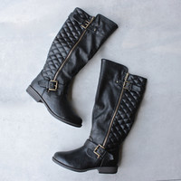 black quilted riding boot