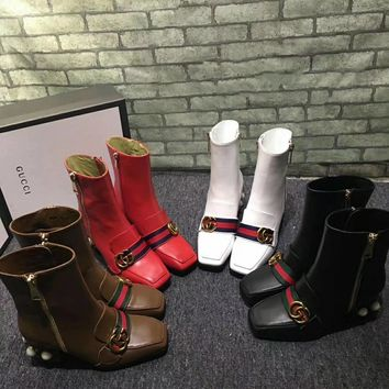 Gucci Women Pearl And Gem Embellished Calf Leather Zipper Length Boots Best Quality