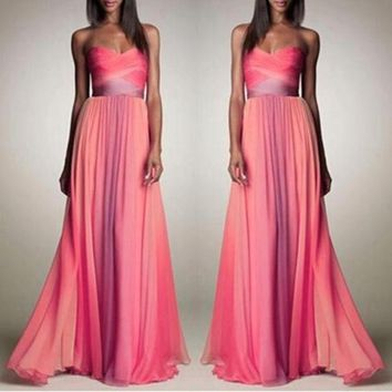 PEAPIX3 Wrap Gradient Shaped Sexy Prom Dress Hot Sale One Piece Dress [4919141764]