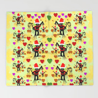 Santa with friends and season love Throw Blanket by Pepita Selles