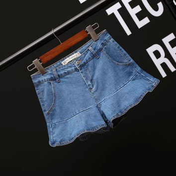 All-match Fashion Women Frills Stitching Denim Shorts Jeans