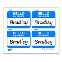 Bradley Hello My Name Is - Sheet of 4 Stickers