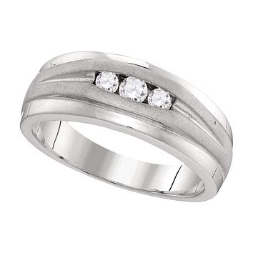 10kt White Gold Mens Round Diamond Wedding Band Ring 1/4 Cttw - FREE Shipping (US/CAN)