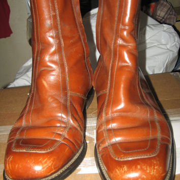 circa hipster 1960s brown leather zipper Beatle boots sz 7 ee
