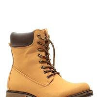 Camel Faux Suede Lace Up Ankle Boots