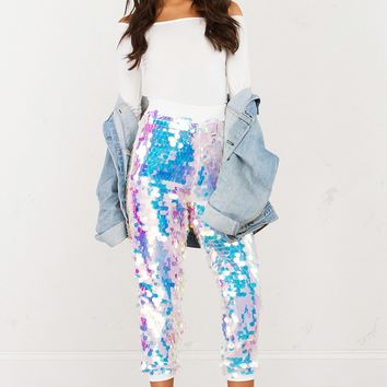 Large Round Sequin Jogger Pants in Black and Off White