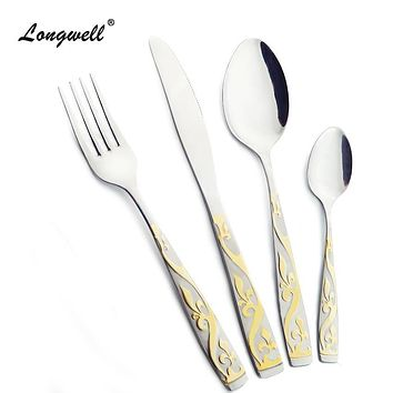 Cheap Dinnerware Set Gold Plated Dinner Set Fork Knife 24 Pieces Household Camping Stainless Steel Cutlery Set Golden Tableware