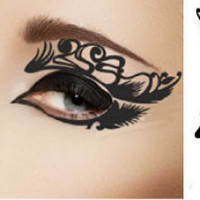 1 Pair of Temporary Tattoo Makeup for Eyes Eyelids Black Color Peacock Feather Laced Shape for Spring Summer Clubbing Party