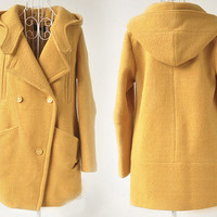 Warm Yellow Fall Winter Hooded Cashmere coat Wool Coat