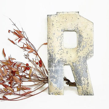 Antique Letter R Vintage Metal Letter VintageEmbellishment Shop