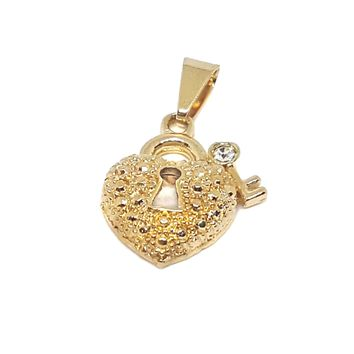 (1-2245-h7-2) Gold Overlay Heart Lock and Key Pendant.