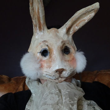 Alice in Wonderland Paper mache rabbit mask bunny mask