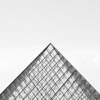 Paris Photography, The Louvre - Paris Print - Minimalist Wall Decor - Black and White Art - Architecture Print - Geometric Design