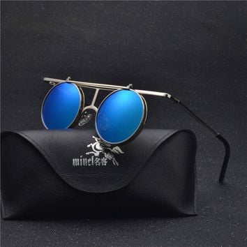2018 Retro punk Googles Vintage Round Flip Up Sunglass Women Mens Clip On Sunglasses Metal Punk Sun Glasses Male  NX