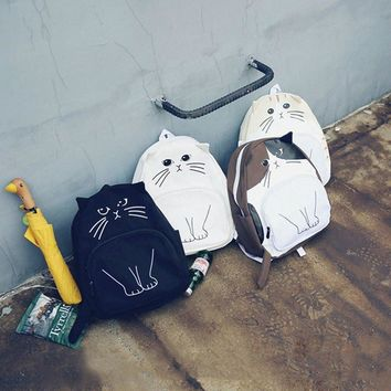 Casual Canvas Cat Backpacks