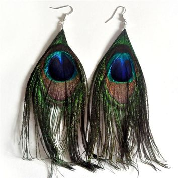 IMIXLOT New Fashion Beauty Peacock Feather Pendant Earrings For Women Hippie Hipster Jewelry Gifts