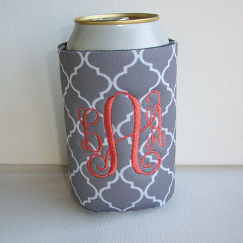 Monogrammed Custom Can gray quatrefoil Koozie -  Personalized 3 letter Embroidered Monogram Coozie - gift for her drink holder